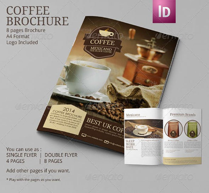 Coffee-Brochure-Template-A4 - 33+ Awesome Brochure Design For Coffee Shop [year]