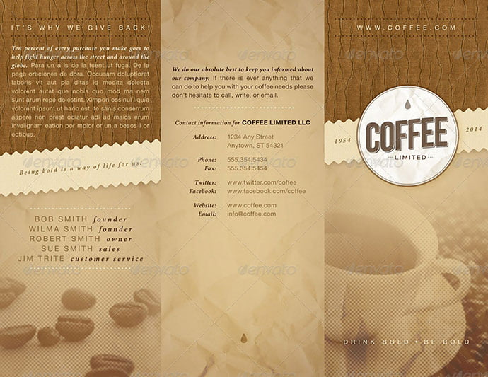 Coffee-Trifold-Brochure - 33+ Awesome Brochure Design For Coffee Shop [year]