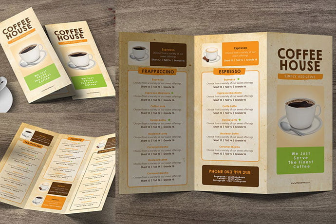 Coffee-Trifold-Menu - 33+ Awesome Brochure Design For Coffee Shop [year]