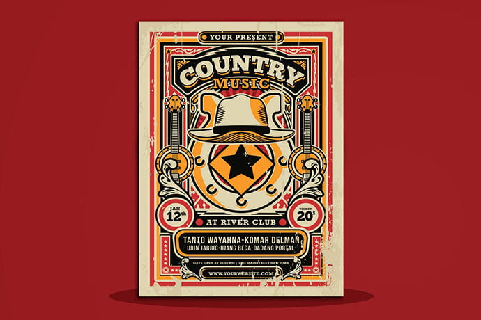 Country-Music-Flyer - 48+ Lovely Flyer & Poster Design Templates [year]
