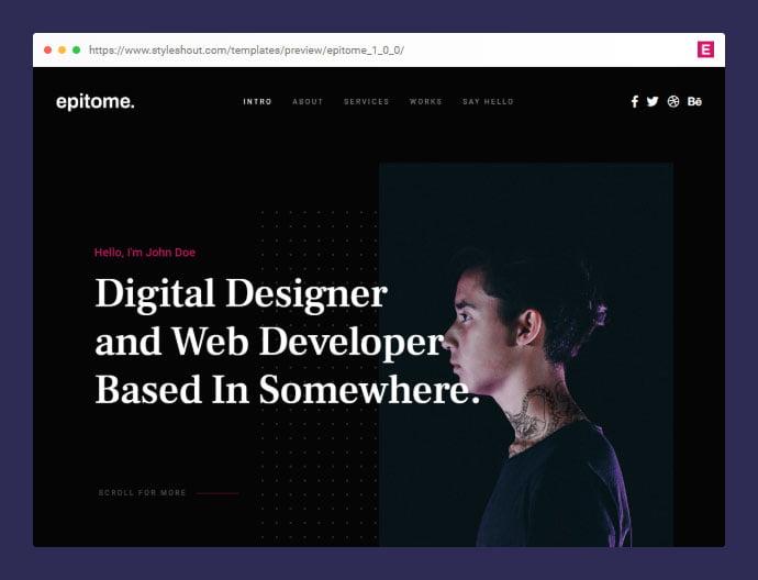 Epitome - 53+ Free HTML CSS Portfolio Web Design Templates [year]