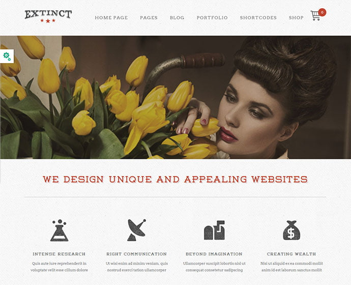Extinct - 32+ Impressive Retro Cool WordPress Themes [year]