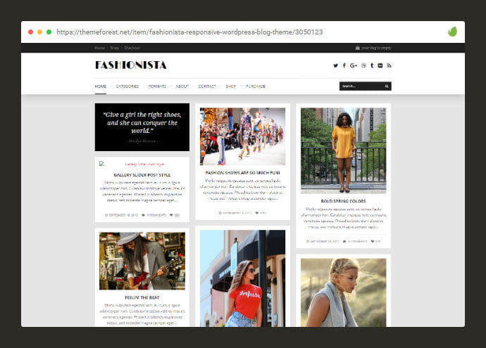 Fashionista - 33+ Awesome Super Fast Website WordPress Themes 2020