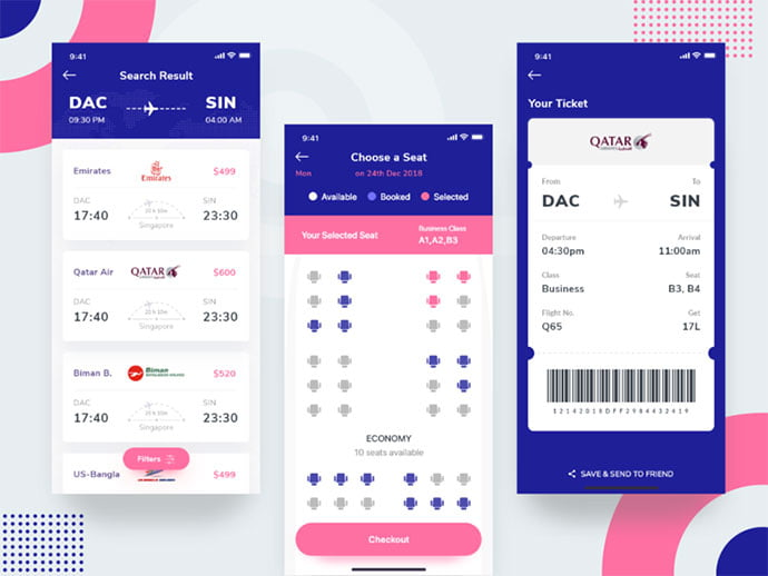 Flight-Booking-App - 53+ NICE Free Seat Reservation App UI Design IDEA [year]