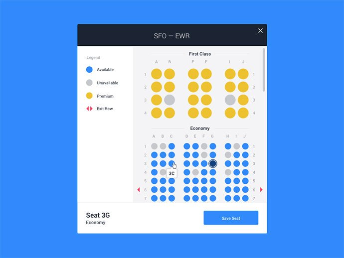 Flight-Seat-Selection - 53+ NICE Free Seat Reservation App UI Design IDEA [year]