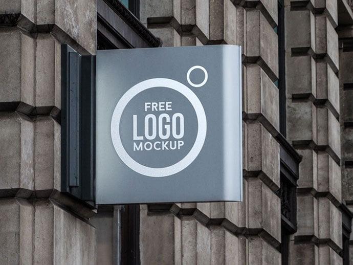 Free-Wall-Sign-Logo-Mockup - 40+ Nice Free PSD Showcase Logo For Designer [year]