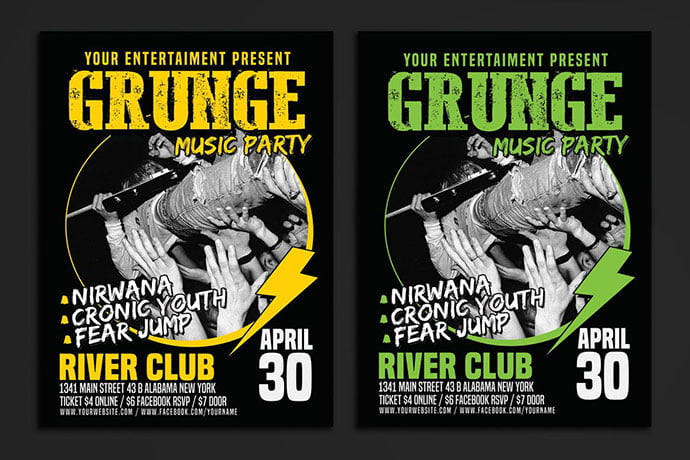 Grunge-Music-Party-Poster - 48+ Lovely Flyer & Poster Design Templates [year]