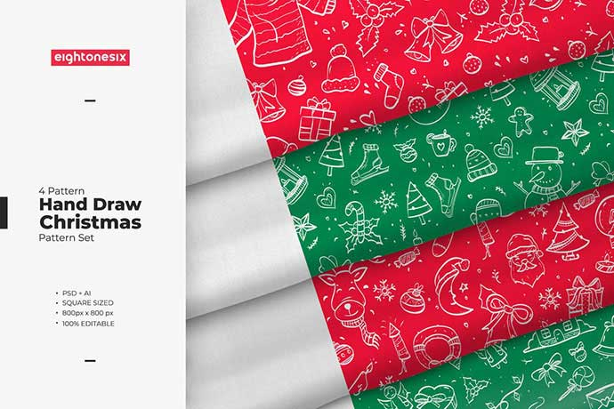 Hand-Drawn-Christmas - 37+ Awesome Christmas Backgrounds, Patterns [year]