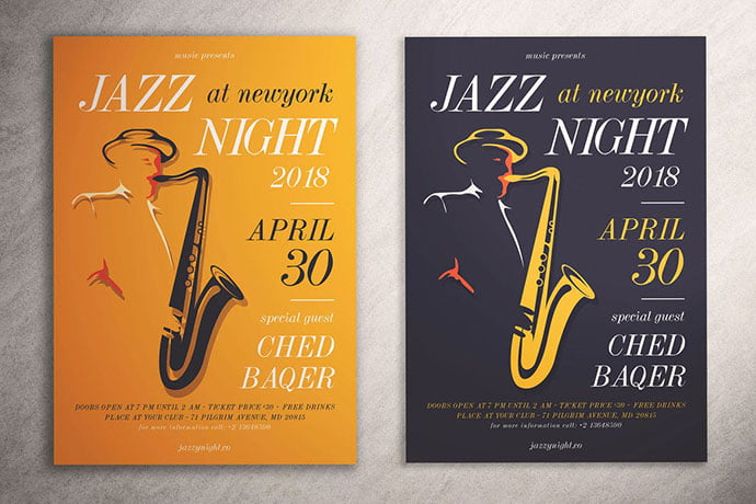 Jazz-Night-Flyer - 48+ Lovely Flyer & Poster Design Templates [year]