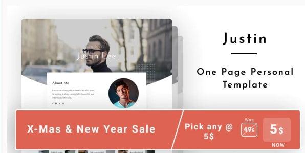Justin - 53+ Free HTML CSS Portfolio Web Design Templates [year]