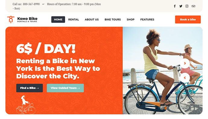 Komo - 29+ Best Bike Store Responsive WordPress Themes [year]