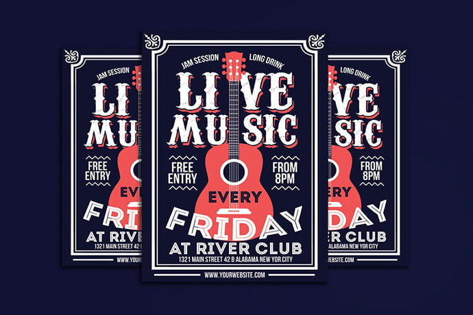 Live-Music-Poster-Flyer - 48+ Lovely Flyer & Poster Design Templates [year]