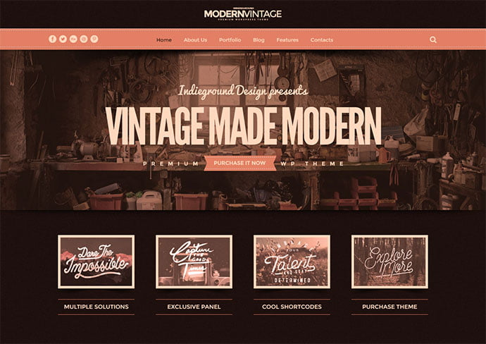 Modern-Vintage - 32+ Impressive Retro Cool WordPress Themes [year]