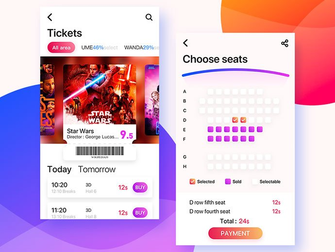 Movie-2 - 53+ NICE Free Seat Reservation App UI Design IDEA [year]