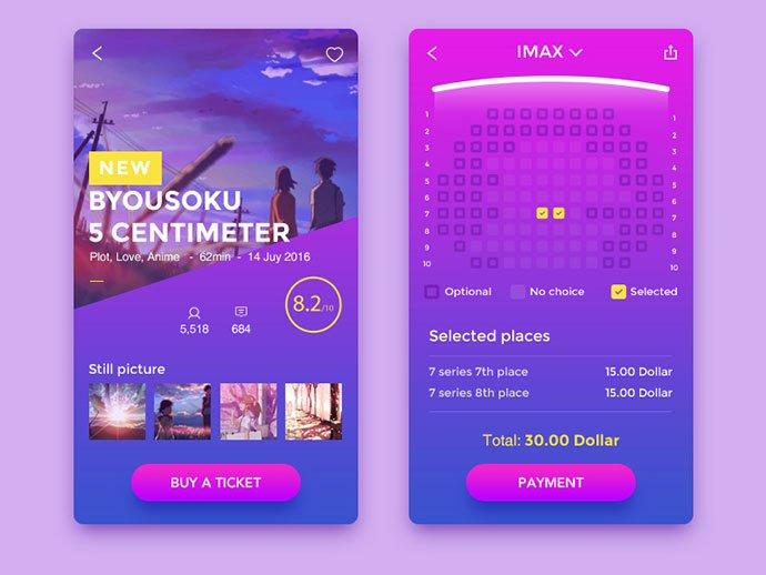 Movie-APP - 53+ NICE Free Seat Reservation App UI Design IDEA [year]