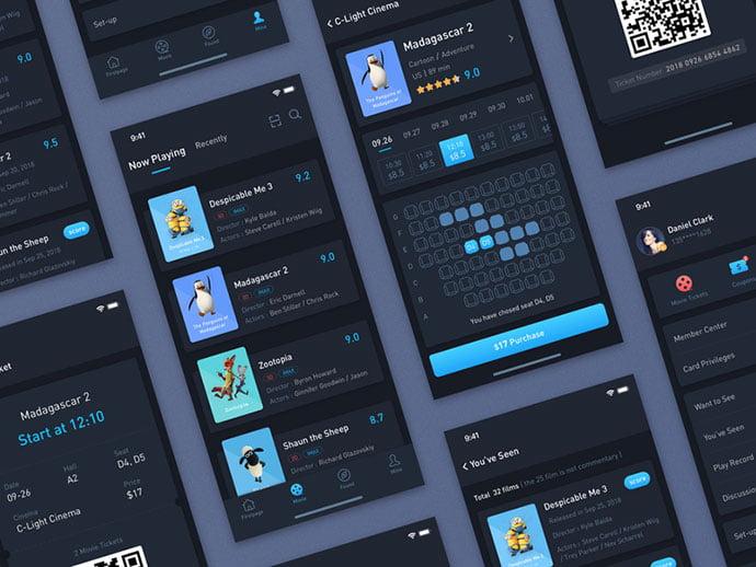 Movie-Ticket - 53+ NICE Free Seat Reservation App UI Design IDEA [year]
