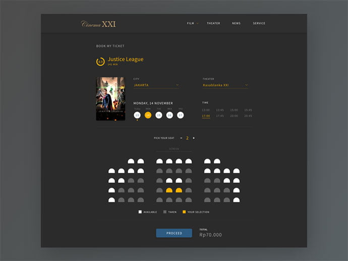 Movie-Tickets-Online-Booking - 53+ NICE Free Seat Reservation App UI Design IDEA [year]