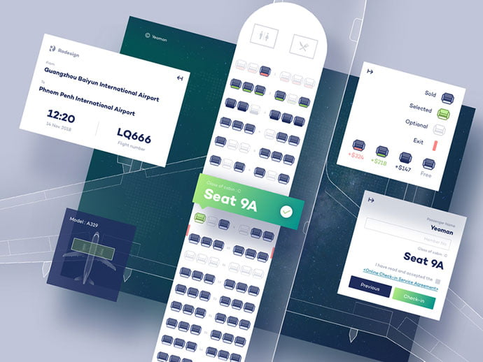 Online-check-in - 53+ NICE Free Seat Reservation App UI Design IDEA [year]