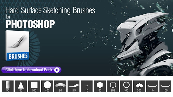Photoshop-Brushes-for-Hard-Surface-Sketching - 44+ Nice Free Photoshop Brush Sets For Designer [year]