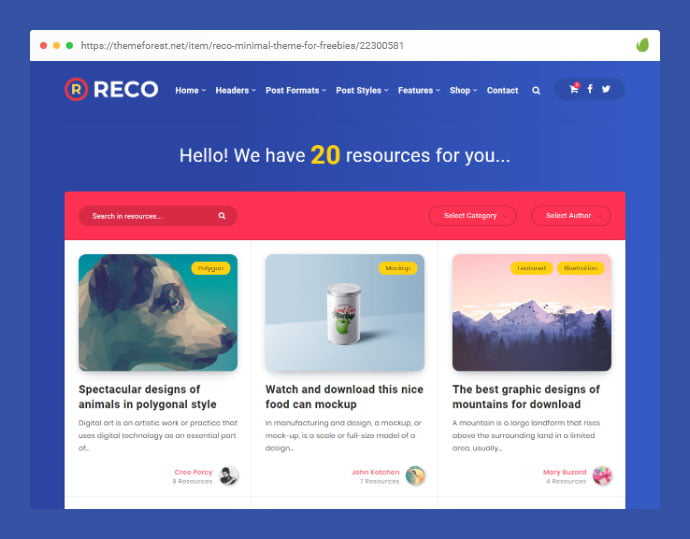 Reco - 33+ Awesome Super Fast Website WordPress Themes [year]