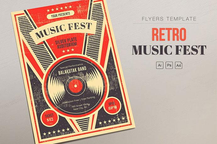Retro-Music-Fest-1 - 48+ Lovely Flyer & Poster Design Templates [year]