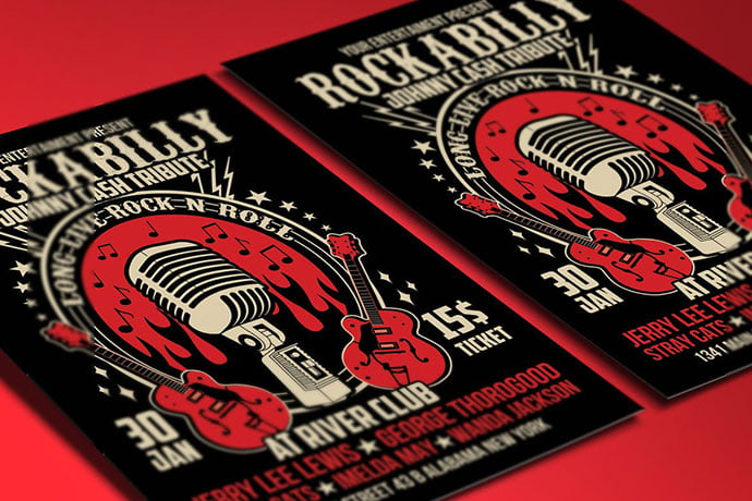 Rockabilly-Music-Show-Poster - 48+ Lovely Flyer & Poster Design Templates [year]
