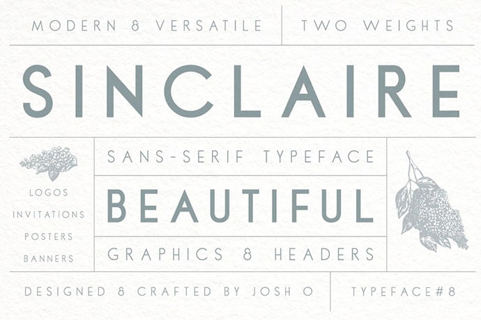 Sinclaire - 45+ Amazing Sans Serif Fonts For Minimalist Designs [year]