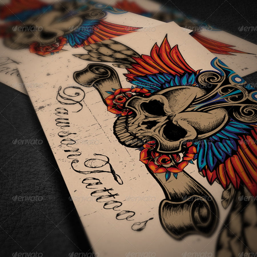 Tattoo-Business-Card-Designs - 31+ Awesome Free Tattoo Business Card Designs 2020
