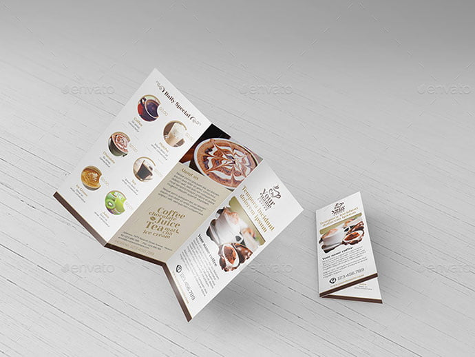 Trifold-Brochure-Template - 33+ Awesome Brochure Design For Coffee Shop [year]