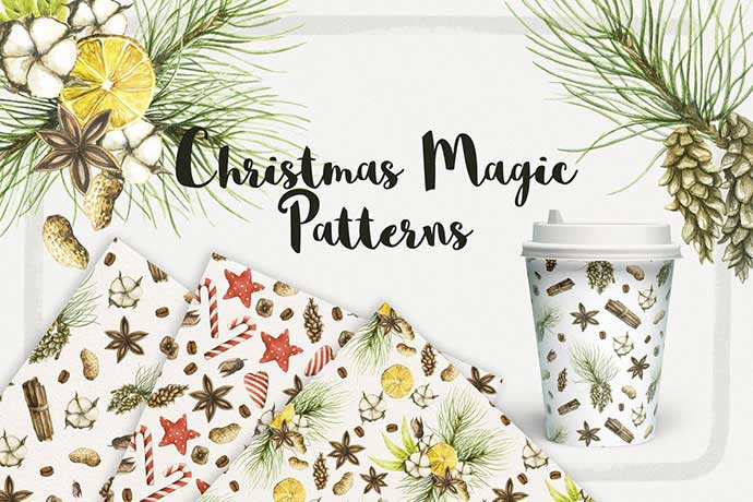 Watercolor-Christmas-Magic-Patterns - 37+ Awesome Christmas Backgrounds, Patterns [year]