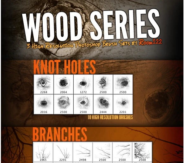 Wood-Series - 44+ Nice Free Photoshop Brush Sets For Designer [year]