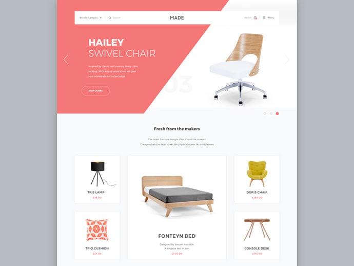 222 - 63+ Impressive Free Furniture Web UI Example [year]