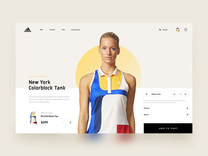 Adidas - 53+ Awesome Shopping Cart UI Designs [year]