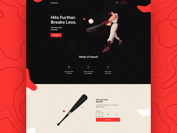Baseball-Bat - 53+ Awesome Shopping Cart UI Designs [year]