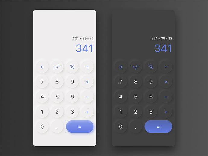 Calculator - 43+ BEST FREE Neumorphism UI Design SAMPLE