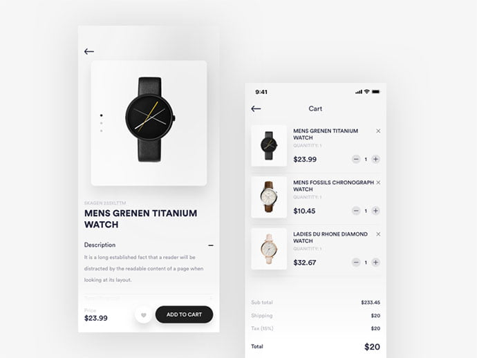 Cart-and-Product - 53+ Awesome Shopping Cart UI Designs [year]