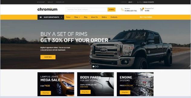 Chromium - 28+ Automotive Accessories WordPress Themes [year]