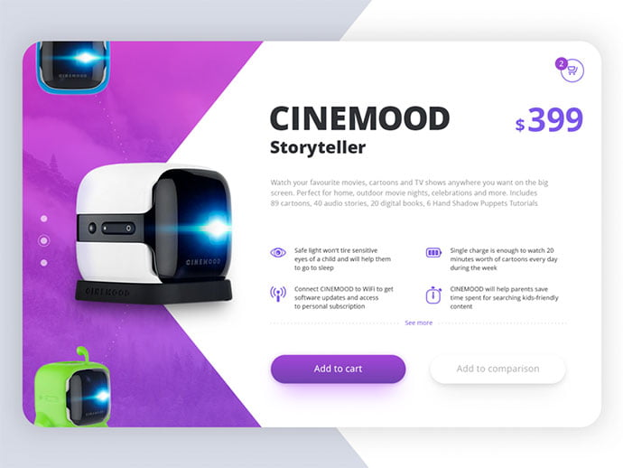 Cinemood - 53+ Awesome Shopping Cart UI Designs [year]