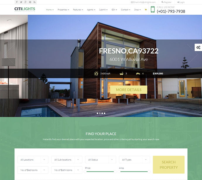 CitiLights - 33+ Amazing Real Estate WordPress Themes [year]