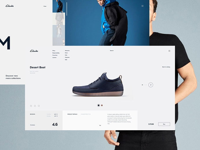 Clarks - 53+ Awesome Shopping Cart UI Designs [year]