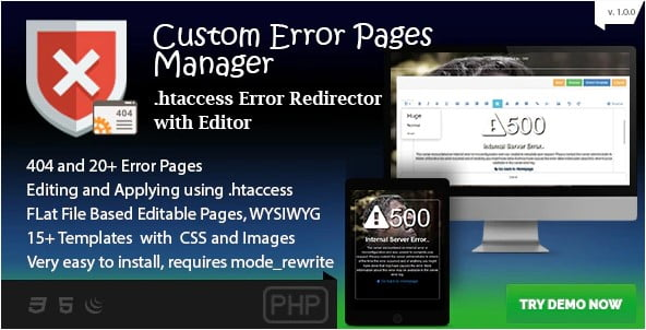 Custom-Error-Page-Manager - 33+ Awesome CSS & Javascript Error 404 Page Sample [year]