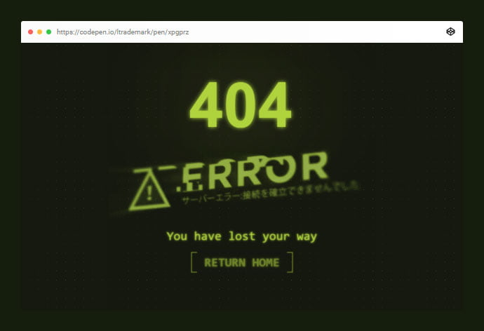 Cyberpunk - 33+ Awesome CSS & Javascript Error 404 Page Sample [year]