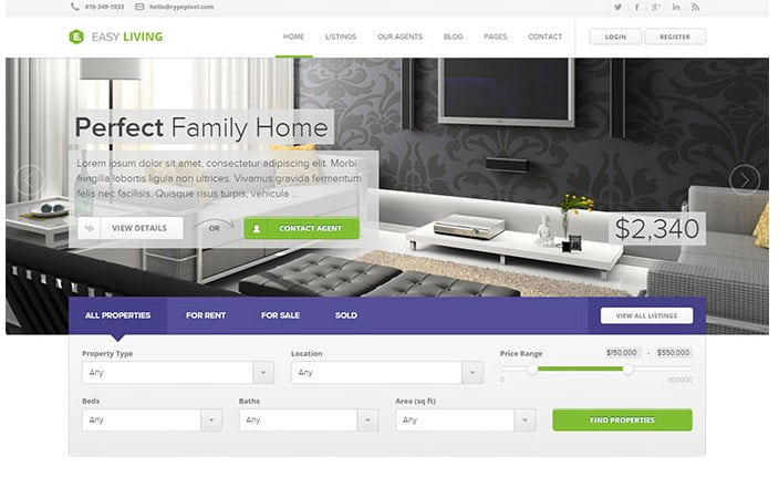 Easy-Living - 33+ Amazing Real Estate WordPress Themes [year]