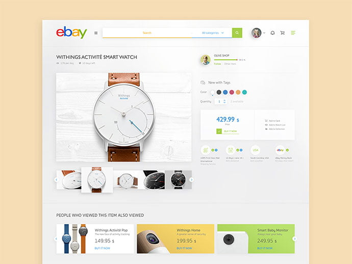 Ebay - 53+ Awesome Shopping Cart UI Designs [year]