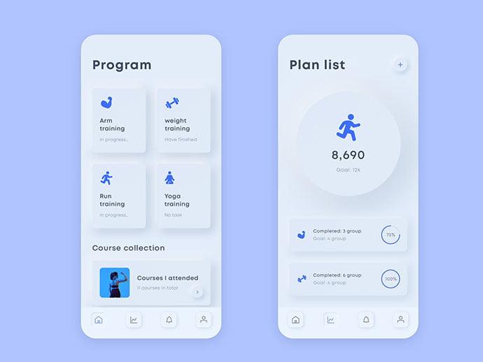 Fitness-App - 43+ BEST FREE Neumorphism UI Design SAMPLE [year]