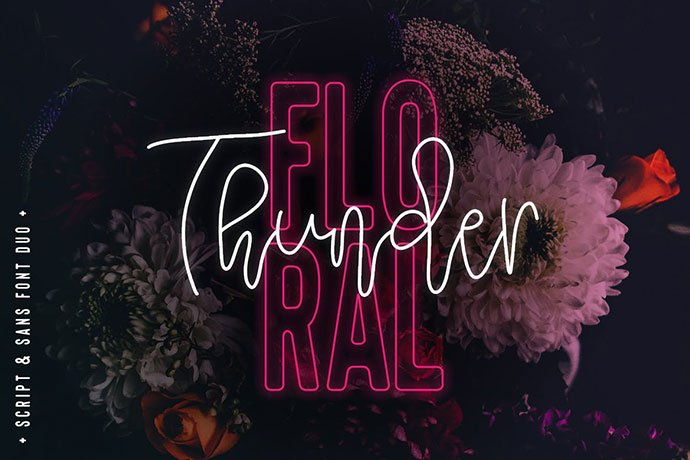 Floral-Thunder-Font-Duo - 39+ Amazing Outline Fonts For Designer [year]