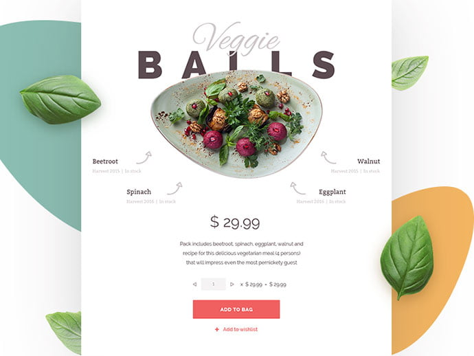 Food-Store - 53+ Awesome Shopping Cart UI Designs [year]