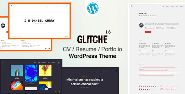 Glitche - 34+ Portfolio WordPress Themes For Resume [year]