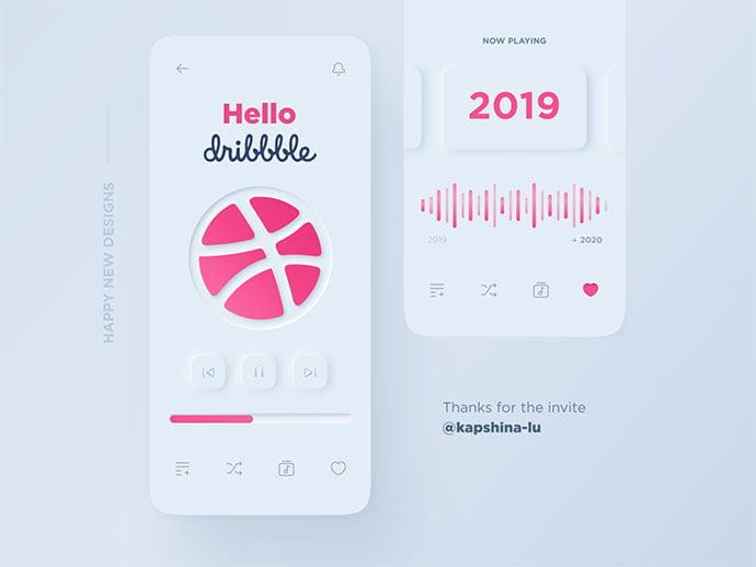 Hello-Dribbble - 43+ BEST FREE Neumorphism UI Design SAMPLE