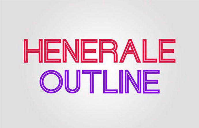 Henerale-Outline - 39+ Amazing Outline Fonts For Designer [year]